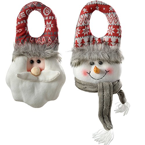- WeRChristmas Santa And Snowman Door Hangers Christmas Decorations, 23 Cm - Grey/Red, Set Of 2