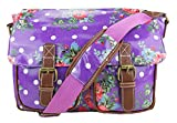 Miss Lulu Oilcloth Prints Satchel Messenger Shoulder School Bag (Flower Purple)
