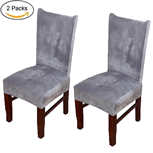 Buganda Stretch Velvet Fabric Removable Washable Short Dining Room Chair Protector Cover Slipcover Home Decor Set of 2 Silver Grey (Bar Slipcovers Chair)
