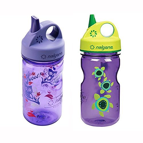 Nalgene Grip-N-Gulp Kids / Children's Tritan Water Bottles 12oz - 2 Bottle Combo Pack - 3 Inches in Diameter by 7.75 Inches Tall (12oz, Set of 2, Purple Hoot and Purple Sea Turtle)