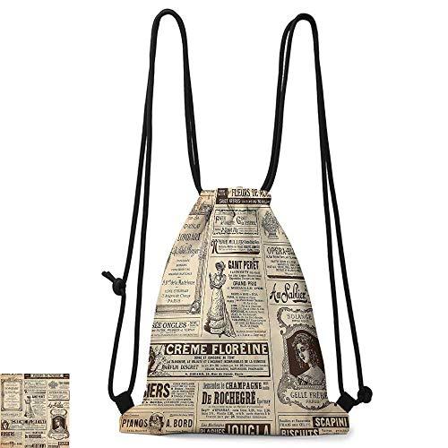 Custom backpack Paris Vintage Old Historic Newspaper Journal French Paper Lettering Art W14