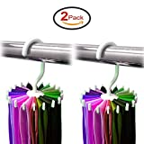 OurWarm 360 Rotating Adjustable Twirl Tie Belt Scarf Rack Hanger Holder 20 Hooks for Closet Organizer