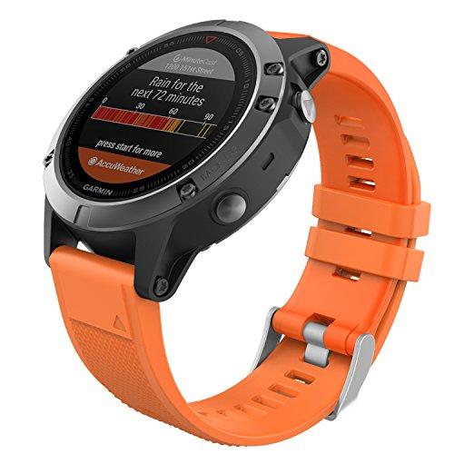 MoKo Garmin Fenix 5 Quick Fit 22mm Watch Band, Soft Silicone Replacement Strap for Garmin Fenix 5/5 Plus/Instinct/Forerunner 935/Aproach S60 Smart Watch, (Not Fit Fenix 5X 5S), Orange