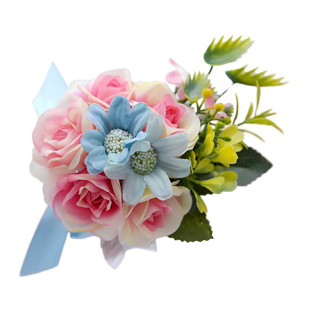 Yevison 1X Flower Wrist Corsage Wedding Bridesmaid Wrist Corsage Sunflower Stretch Bracelet Hand Flower Wedding Prom Party Decor Practical