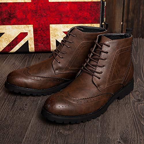 Cordones De Piel Zapatos Botines Hombre Moto Casuales Cortas Vestido Trabajo Cafe Con Al Aire Botas Libre Para Puntiagudo ng6Xaq