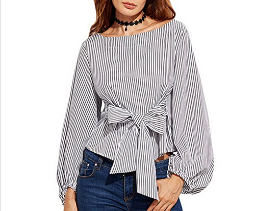 USGreatgorgeous Women's Plus Size Gril Striped Off Shoulder Bowknot Blouses Ruffle Puff Sleeve Blouse Tops