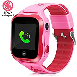 Duiwoim Kids Smart Watch, Accurate Gps Tracker Phone Watches For Children Girls Boys 1.44 Inch Touch Screen Camera Wifi Waterproof Anti-lost Sos Digital Wrist Watches (Pink)
