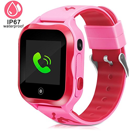 Kids Smart Watch Accurate GPS Tracker Phone Watches for Children Girls Boys 1.44 inch Touch Screen Camera WiFi Waterproof Anti-Lost SOS Digital Wrist Watches(Pink)