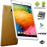 Indigi 7 Android 4.2 Luxury Leather Back Gold Tablet PC w/ HDMI WiFi Dual Camera