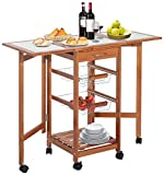HomCom Portable Rolling Tile Top Drop-Leaf Kitchen Trolley Cart