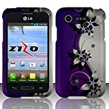 Purple and Silver Vines Design Shield Snap-On Cover Case + Atom LED Keychain Light for LG Optimus Fuel / L34C (Straight Talk, Tracfone, Net 10)