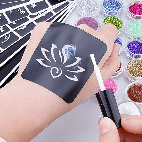 Henna Tattoo Kits For Kids: Comdoit Glitter Tattoo Kit Body Glitter Temporary Tattoos