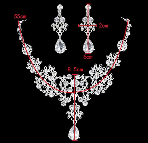 Leegoal Rhinestone Crystal Necklace Earrings