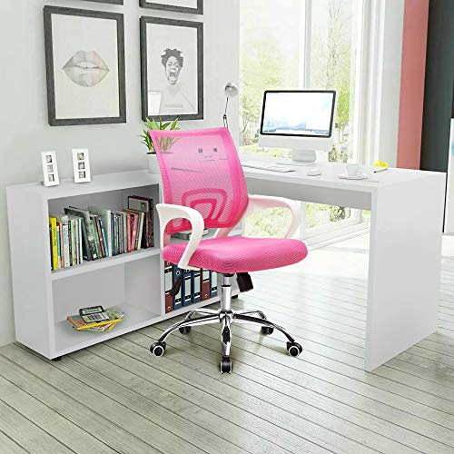 NEO CHAIR Office Chair Computer Desk Chair Gaming - Ergonomic Mid Back Cushion Lumbar Support with Wheels Comfortable Pink Mesh Racing Seat Adjustable Swivel Rolling Home Executive