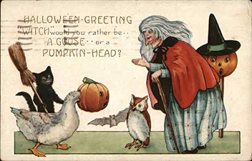 Witch Would You Rather Be.a Goose.or a Pumpkin Head Halloween Original Vintage -