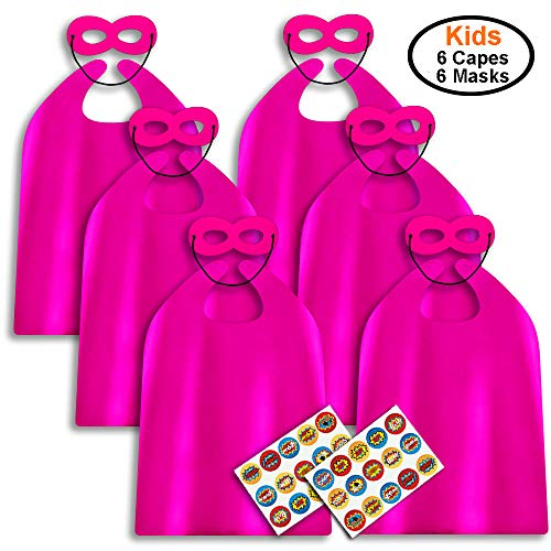 ADJOY Superhero Capes and Masks for Kids Birthday Party - DIY Dress Up Costumes - 6 Sets Pack (Hot Pink)