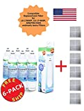 Kenmore Elite 46-9490 ADQ73613402 ADQ73613401 LT800P Compatible Zuma Refrigerator Water & Ice Filter (Made in the USA)+Free Air Filters (6)