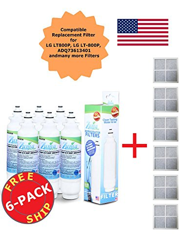 Kenmore Elite 46-9490 ADQ73613402 ADQ73613401 LT800P Compatible Zuma Refrigerator Water & Ice Filter (Made in the USA)+Free Air Filters (6) by Zuma Filter