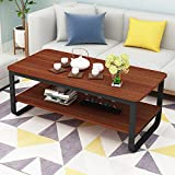 Modern Cocktail Wood & Metal Legs Coffee Table/End Table/Side Table/Dining Table/Sofa & Console Tables/TV Table/Vanity Table/Office Table/Computer Table,Black Metal Frame 47 inch