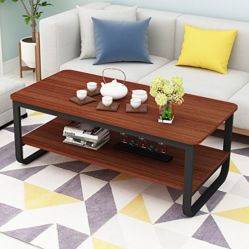 Modern Cocktail Wood & Metal Legs Coffee Table/End Table/Side Table/Dining Table/Sofa & Console Tables/TV Table/Vanity Table/Office Table/Computer Table,Black Metal Frame 47 inch -