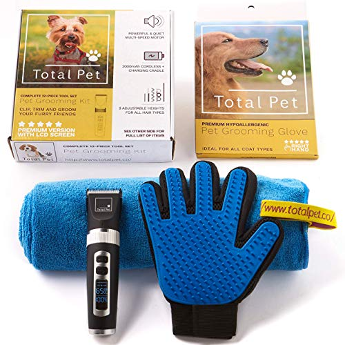 (Dog Clippers - 12-Piece Pet Grooming Kit: Perfect for Dog Grooming and Cat Grooming - Designed for Small & Large Dogs with Thick Coats (Kit + Glove + Towel))