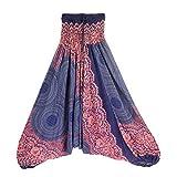 Harem Pants Women's Hippie Bohemian Yoga Pants One Size Aladdin Harem Hippie Pants Jumpsuit Smocked Waist 2 in 1 (Free, Blue)