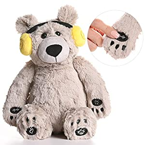 Lulla Bear Shusher by Alex & Kate – White Noise, Lullabies, and Mom's Heartbeat Sounds – Nursery Décor & Portable Stuffed Animal Bear with Baby Sleep Soothing Sounds for Toddler Crib to Comfort