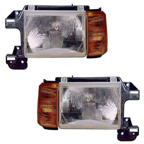 1987 Ford Pickup (1987-1991 Ford Bronco & F150 F250 F350 Pickup Truck without trim (1988-91 F Super Duty) Front Head Light Lamp Headlamp Headlight Pair Set Left Driver AND Right Passenger Side (1987 87 1988 88 1989 89 1990 90 1991 91))