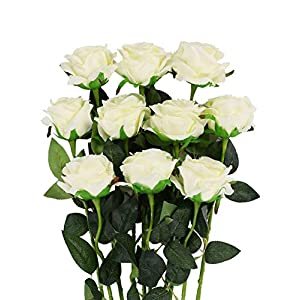Veryhome Artificial Flowers Silk Roses Fake Bridal Wedding Bouquet for Home Garden Party Floral Decor 10 Pcs (White Curved stem) 2