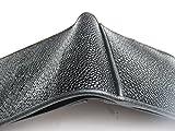 handmade Black Genuine Stingray skin Leather bifold wallet 11x9 cm. RW54