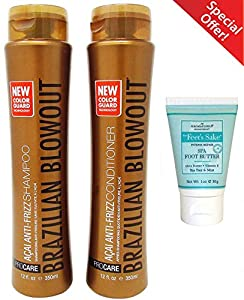 3. Brazilian Blowout Shampoo and Conditioner with FREE AROMAFLORIA for Feet's Sake SPA FOOT BUTTER.