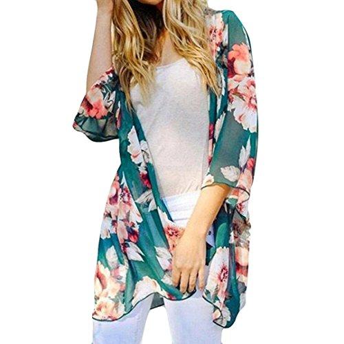 Aliciga シフォン ロング カーディガン レディース 開き襟 七分袖 花柄 プリント 和服 涼しい シャツ 薄手 柔らか 上着 日焼け止 UVカット ビーチコート カジュアル 着物 ゆかた 可愛い ファッション 春 夏