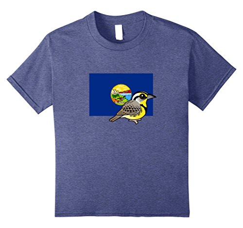 Kids State Bird of Montana Cute Cartoon Western Meadowlark Shirt 8 Heather Blue Montana State Bird