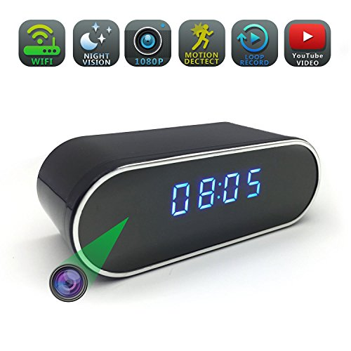 对于出售 Spy camera, WGCC Wifi Hidden Camera Clock 1080P Video Recorder, Wireless Motion Detection Nanny camera