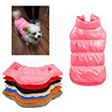 Rantow Autumn Winter Pet Dog Cat Clothes Warm Down Coat, 7 Colors Classic Pet Outwear Down Jacket for Teddy, Yorkshire Terrier, Chihuahua, Pomeranian (XS, Pink)