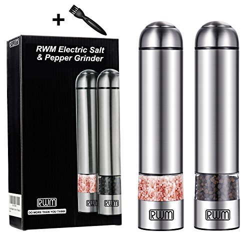 RWM Electric Salt and Pepper Grinder -Stainless Steel Automatic Sea Salt Mill (2-Pack) - Visible with Led Light, Adjustable Coarseness Ceramic Mechanism grinding miller(Version Updating) by RWM