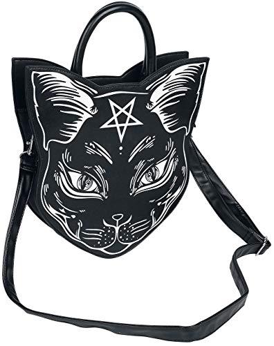 Banned Apparel Nemesis Black Cat Face Pentagram Occult Vegan Crossbody Bag Purse