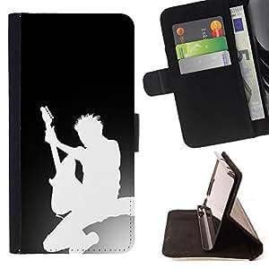 BullDog Case - FOR/Samsung Galaxy S6 / - / Guitar Silhouette /- Monedero de cuero de la PU Llevar cubierta de la caja con el ID Credit Card Slots Flip funda de cuer