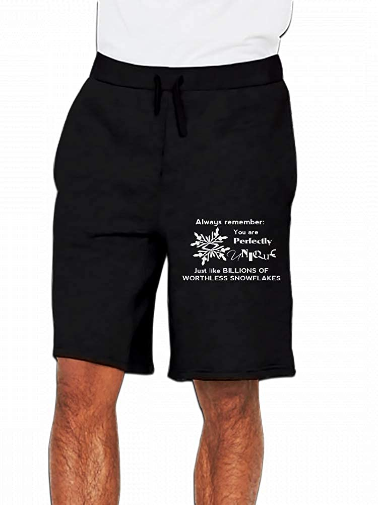 Shirty Goodness Snowflakes White Flock Mens Casual Shorts Pants