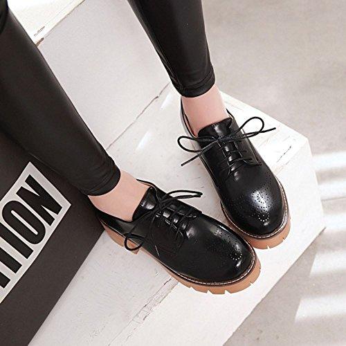 COOLCEPT Damen Mode-Event Schnueren Schuhe mit Absatz Geschlossene Pumps Square Heel Schuhe Schwarz