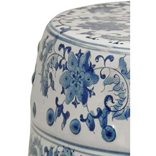 Oriental Furniture 18'' Floral Blue & White Porcelain Garden Stool by ORIENTAL Furniture (Image #2)