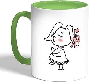 كوب سيراميك للقهوة، لون اخضر، بتصميم رسوم كرتونية - ارنب