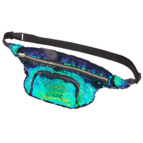 Beautiful Sequins - MHJY Sequin Fanny Pack Mermaid Waist Bag, Flip Sequin Waist Pack Sparkly Sling Bag for Women Color Changing Hip Bum Bag Belt Bag for Outdoor Travel,Party,Festival