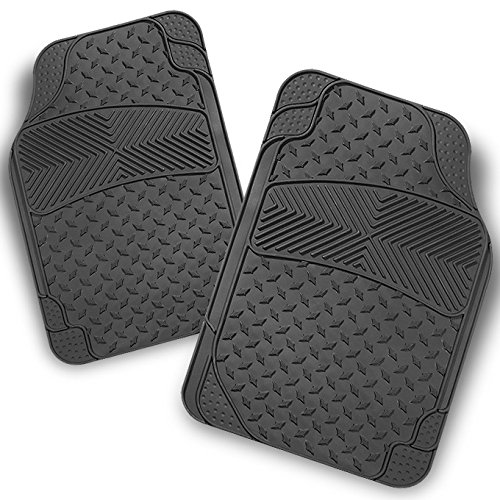All Weather Heavy Duty Ver.2 Metal Design Grey Car Interior Front Floor Mats 2 Pieces Set Liner (Mats Front 2 Piece Auto)