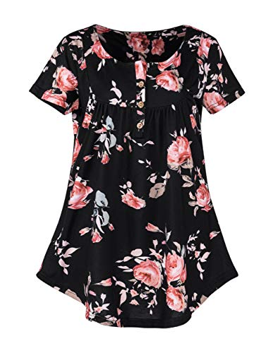 (Women Swing Tunic Floral Printing Graphic Plain Solid Color Blouse Tops V Neck Ruffle Flattering Shirt D-Black)