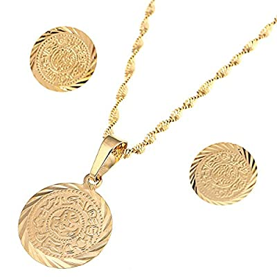 Cheap Gold Plated Islam Muslim Coin Money Sign Necklaces Earring Jewelry Set for cheap