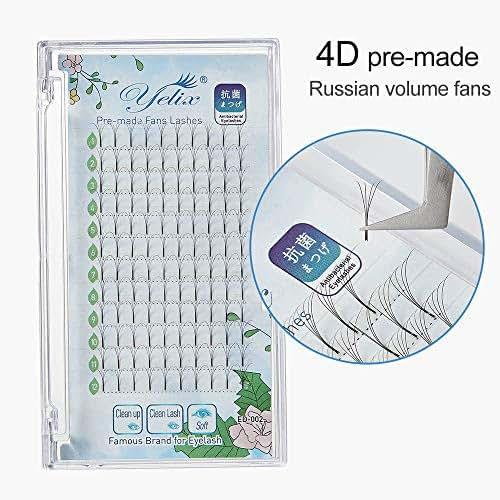 4D Russian Volume Lash Premade Fan Eyelash Long Stem Clustered Eyelash Extensions C Curl 0.07mm Thickness 11mm Length