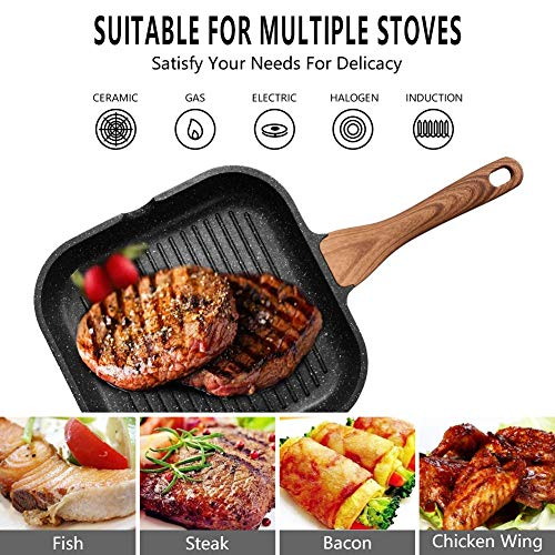 ESLITE LIFE Nonstick Grill Pan for Stove Tops with Pour Spouts Induction Compatible, Granite Coating, 9.5 inch Salted Salad