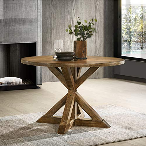 Roundhill Furniture T303 Windvale Cross-Buck Base Dining Table, Brown