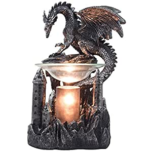 Mythical Winged Dragon Guarding Castle Electric Oil Warmer or Wax Tart Burner for Decorative Medieval & Gothic Decor Statues and Figurines As Aromatherapy Essential Scented Oil Gifts for Dragon Lovers